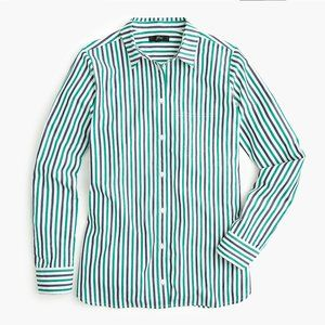 J. Crew TALL green blue striped button down shirt